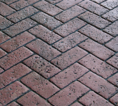 Brick style stamped concrete pattern.