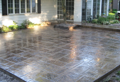 Polished and stamped concrete back patio.