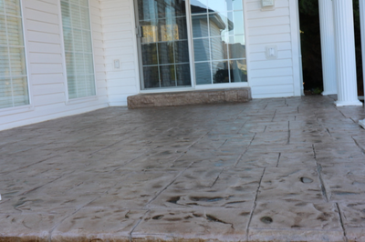Polished and stamped back patio.