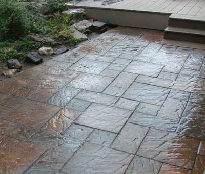 Paver style stamped concrete patio.