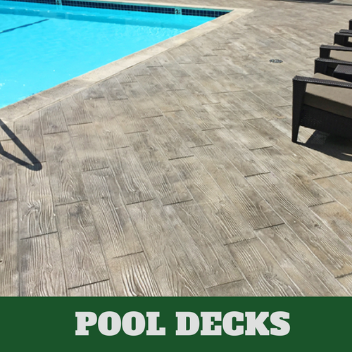 Evanston Stamped concrete pool surround with a wood grain finish.